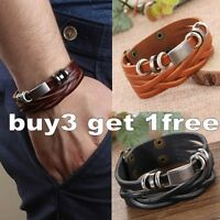 Men's Braided NEW Leather Stainless Steel Cuff Bangle Bracelet Wristband New