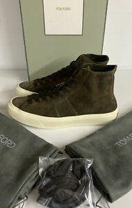 Tom Ford Cambridge Suede Hi Top Sneakers Brown Size 8 UK Brand New Boxed Italy