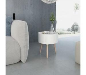 White Side Table Round Furniture Detachable Serving Tray Storage Compartment