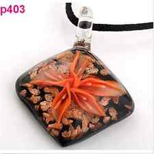 Stylish Charm Sweet Flower Rhombus Lampwork Art Glass Beaded Pendant Necklace FT