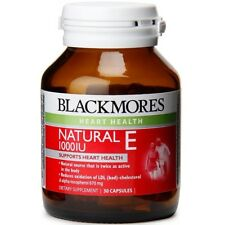 BLACKMORES NATURAL E 1000IU 30 CAPSULES VITAMIN DIETARY SUPPLEMENT HEART HEALTH