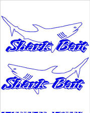 """""""SHARK BAIT"""" PAIR OF BOAT YACHT NAMES DECAL STICKER GRAPHICS- Colour Choice"""