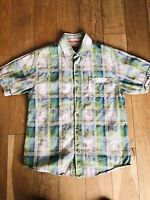 Mens FAT FACE Check Short Sleeve Shirt Size S Small White/Green/Blue Immaculate