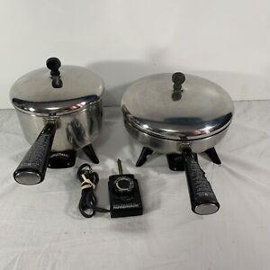 "VTG Farberware 10"" Frypan Electric Skillet 300 w/ Lid & 330 Sauce Pot Pan 3 QT"