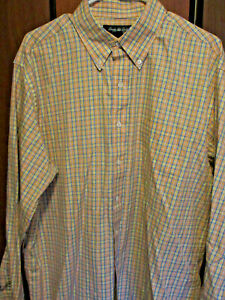 Brooks Brothers Multicolored Orange Cotton Long Sleved Button Front Shirt  L