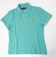 Tommy Hilfiger Poloshirt Polohemd Damen Gr.L grün uni Piquè -S1340
