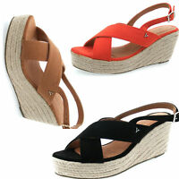LADIES WOMENS  ANKLE STRAP PLATFORM WEDGE ESPADRILLES LEATHER SUMMER SANDALS