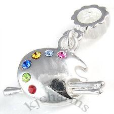CZ Color Palette Tray Brush Silver Dangle European Bracelet Charm Bead EB629