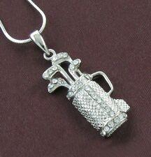 Golf Club Bag Light Clear Crystal Rhinestone Sports Necklace Chain Charm Pendant