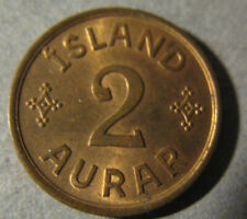 Iceland # 2 Aurar 1942 Uncirculated,  Iceland Kingdom . Rare coins.