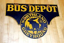 1920's Northland Greyhound Bus porcelain sign, see my other neon sign listings