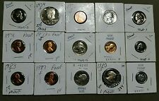 Lot of 15 Proof US Coins. Dollar -Half-Quarters-Nickels -Dimes-Cents