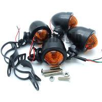 4x  Motorbike Black Turn Signal LED Light 3 Wires For Chopper Bobber Cafe racer