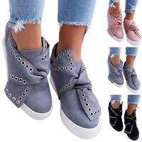 Womens Pumps Wedge Hidden Heel Loafers Sneakers Slip On Trainer Casual Shoes