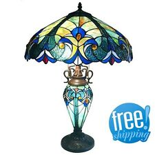 Glass Table Lamp Stained Lit Base 2 Lights Tiffany Style Vintage Beige Blue Pull