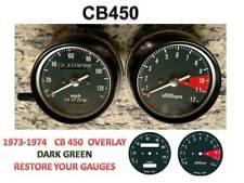 Honda CB450 K Overlay Cafe Racer Gauge Face Decal Applique mph Dial Clocks Green