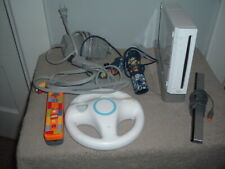 Nintendo Wii Console bundle W/ CORDS 2 CONTROLLERS WHEEL STAND WORKS RVL-001