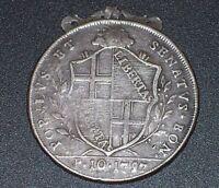 SCUDO 10 PAOLI antica moneta Stato Pontificio 1797 GOVERNO POPOLARE BOLOGNA coin