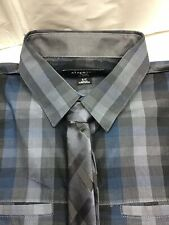 Attention Mens Button Down Dress Shirt with Tie Size Small Grey/Blue MSRP $26.99
