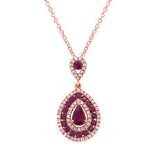 1.30TCW 14K Rose Gold Pear Cut Ruby and Diamond Tear Drop Pendant Necklace