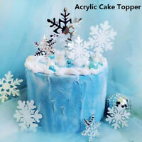 Snowflake Cake Topper White Silver Romantic New Year Party Birthday Decoration