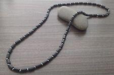 Black Wood Tube And Metallic Hematite Stone Beaded Men Wire Necklace Men's