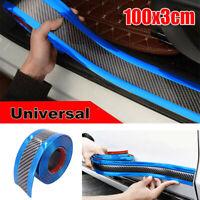 Kohlefaser + Blau Streifen Trim Auto Tür Kante Aufkleber Pedal Schutzleisten