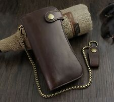 New Leather Long Wallet Purses Mens Wallet Coin Pocket Brown WITH CHAIN