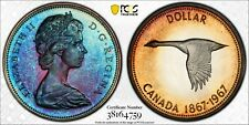 1967 CANADA GOOSE SILVER DOLLAR PCGS PL64 UNC MONSTER COLOR INTENSE TONED (DR)
