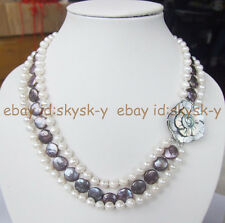Natural black freshwater pearl  coin necklace shell flower clasp 3 rows necklace