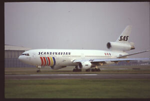 Orig 35mm airline slide SAS Scandinavian Airlines DC-10-30 SE-DFG