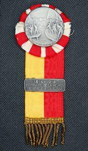 0275 - MÉDAILLE SUISSE Centenaire réunion de Genève à la Suisse 1914 - Huguenin