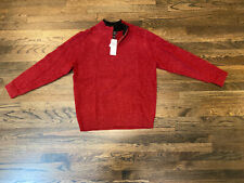 Pendleton 100% Shetland Washable Wool Red 1/4 Zip Pullover Sweater Mens Size LG