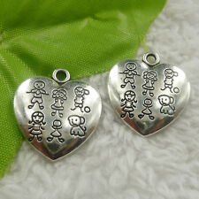 free ship 132 pieces tibet silver heart charms 25x22x2.1mm #4478