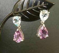 925 Sterling Silver Amethyst Blue Topaz Teardrop Earrings Multi Gemstone Drop