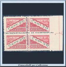 1945 San Marino Pacchi cent 20 Coppia non dentellata lato n 18h Varietà Nuovo **