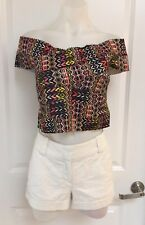 New! Black Aztec Print Off The Shoulder Crop Top From Ice Size M/L (10-12)