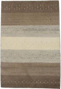 Beige & Brown Stripes Design 4X6 Indo-Gabbeh Handmade Oriental Rug Wool Carpet
