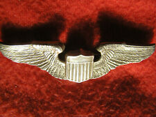 """750. 1930s Usaac Pilots wing,full size,hollow back,Pb,marked silver,3"""",no maker"""