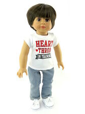 White  Print T Shirt and Jeans 2pc Set Fits 18 inch American Girl Logan Dolls