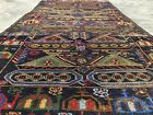 Hand Knotted Afghan Vintage Zakani War Tank Pictoial Balouch Wool Area Rug 7 x 4