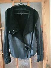 RIVER ISLAND Black Soft Real Leather & Suede Waterfall Jacket Size:10 Chest 38""