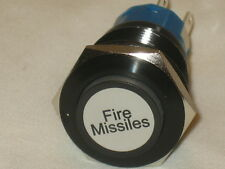 12V LED Fire Missiles ON / OFF Switch 19mm Push Button Red Lighted Black Case