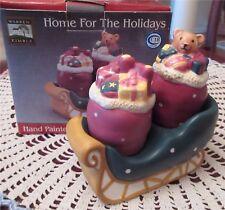 Home For The Holidays Salt & Pepper Shakers Sleigh Sakura Warren Kimble New Box