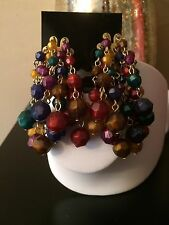 Vintage Gold Tone Dangly Multi Color  Plastic Beads Cluster Clip On Earrings
