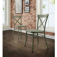 Better Homes and Gardens Collin Distressed Dining Chair, Set of 2, Green