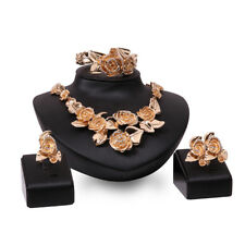 Women Flower Jewelry Gold Crystal Leaf Pendant Necklace Bracelet Earrings Ring