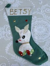 "Vintage 1950's Felt Reinfeer Christmas Stocking Japan Personalized ""Betsy"""