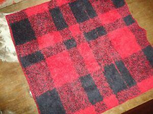 RALPH LAUREN RED & BLACK CHECK (1PC) WASHCLOTH 100% COTTON  13 X 12