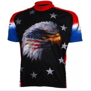American Eagle Patriotic Short Sleeve Men's 3/4 zip Cycling Jersey